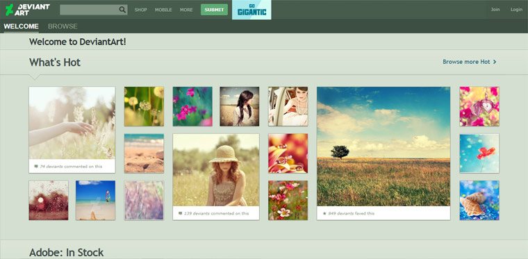 DeviantArt photo sharing site