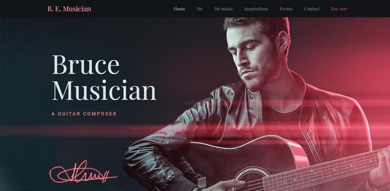 musician theme web design