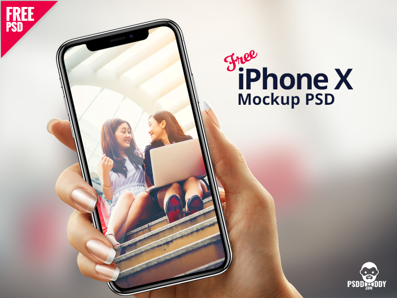 iPhone X in Hand Mockup PSD