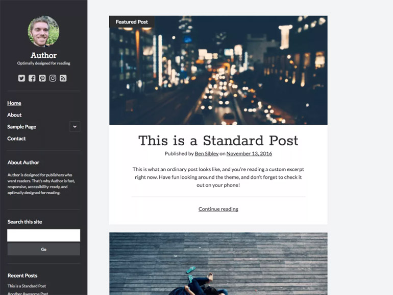 free simple wordpress blog themes