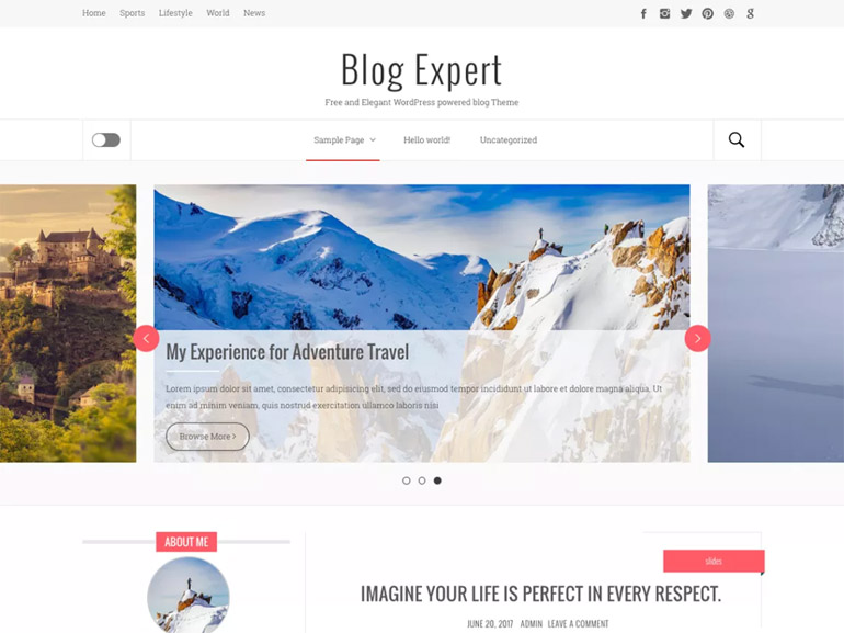 free wordpress themes for a blog