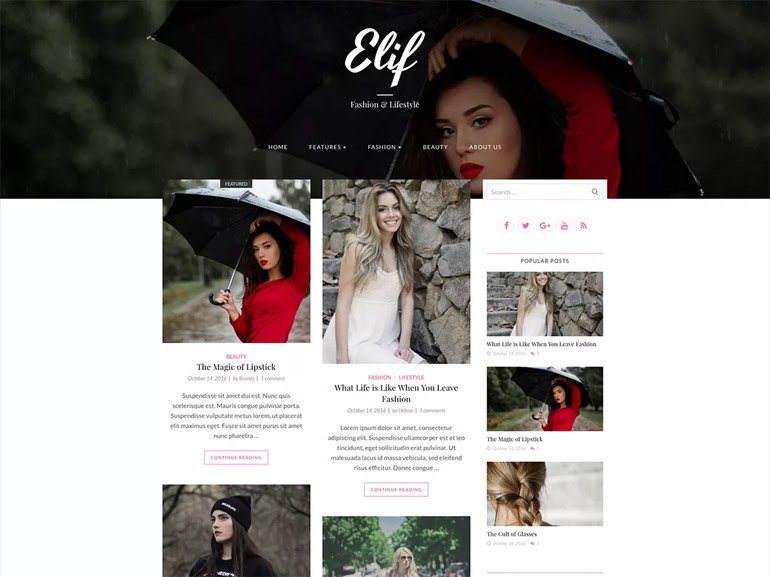 fashion blog wordpress themes free