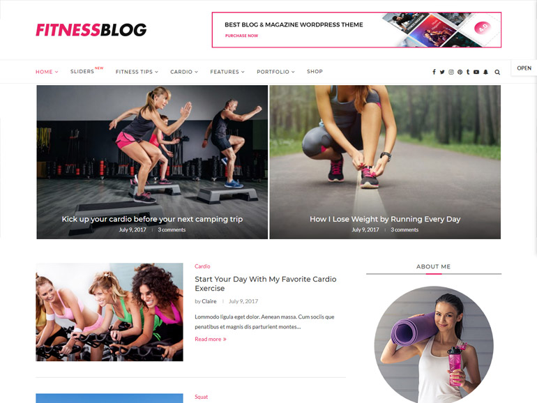 best fitness wordpress blog theme
