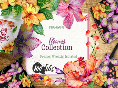watercolor flower set for web design
