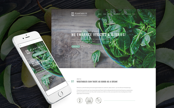 Vegetarian Restaurant Responsive WordPress Theme