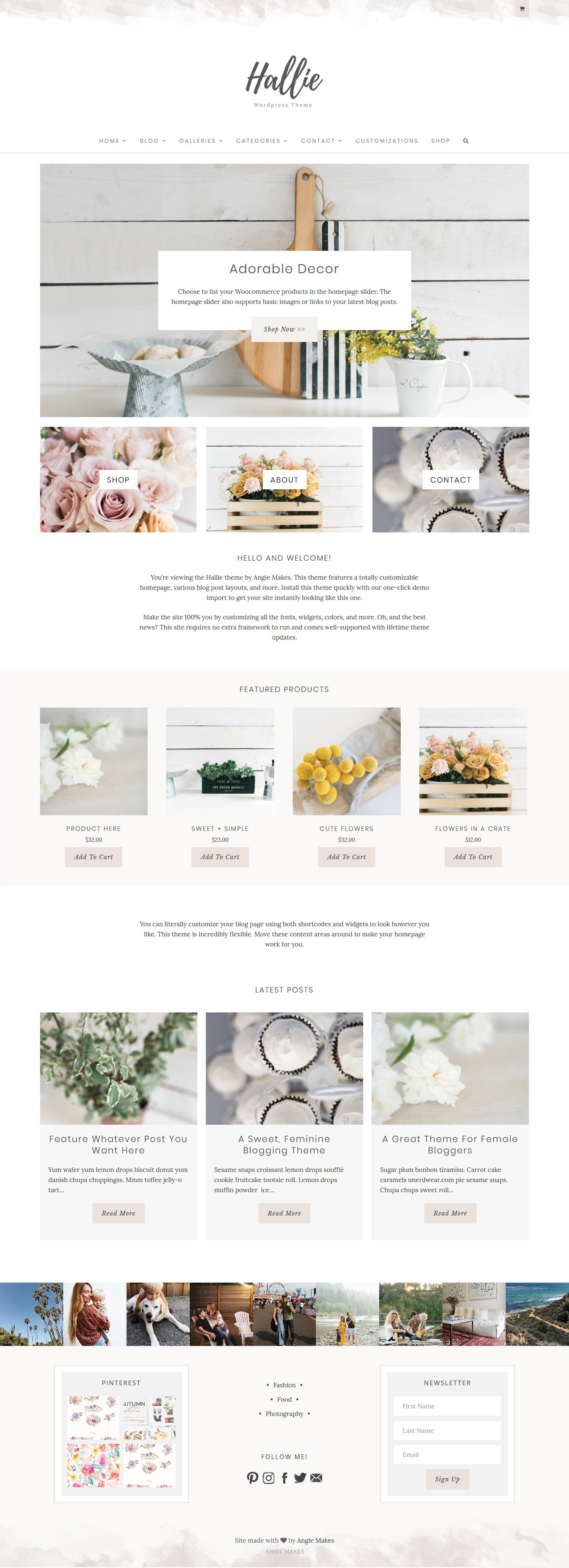 The Hallie Feminine WordPress Theme