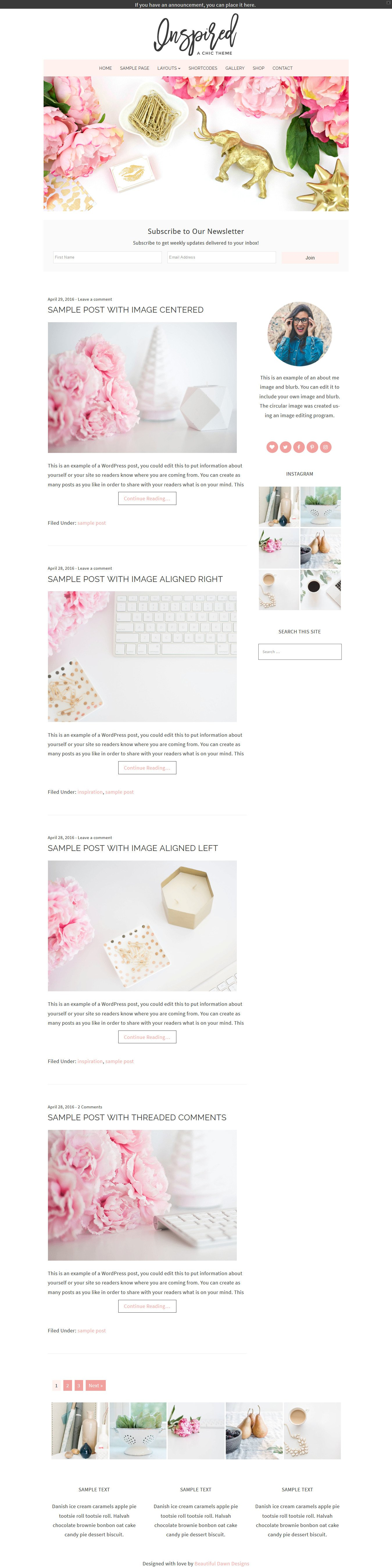 Inspired Feminine WordPress Theme