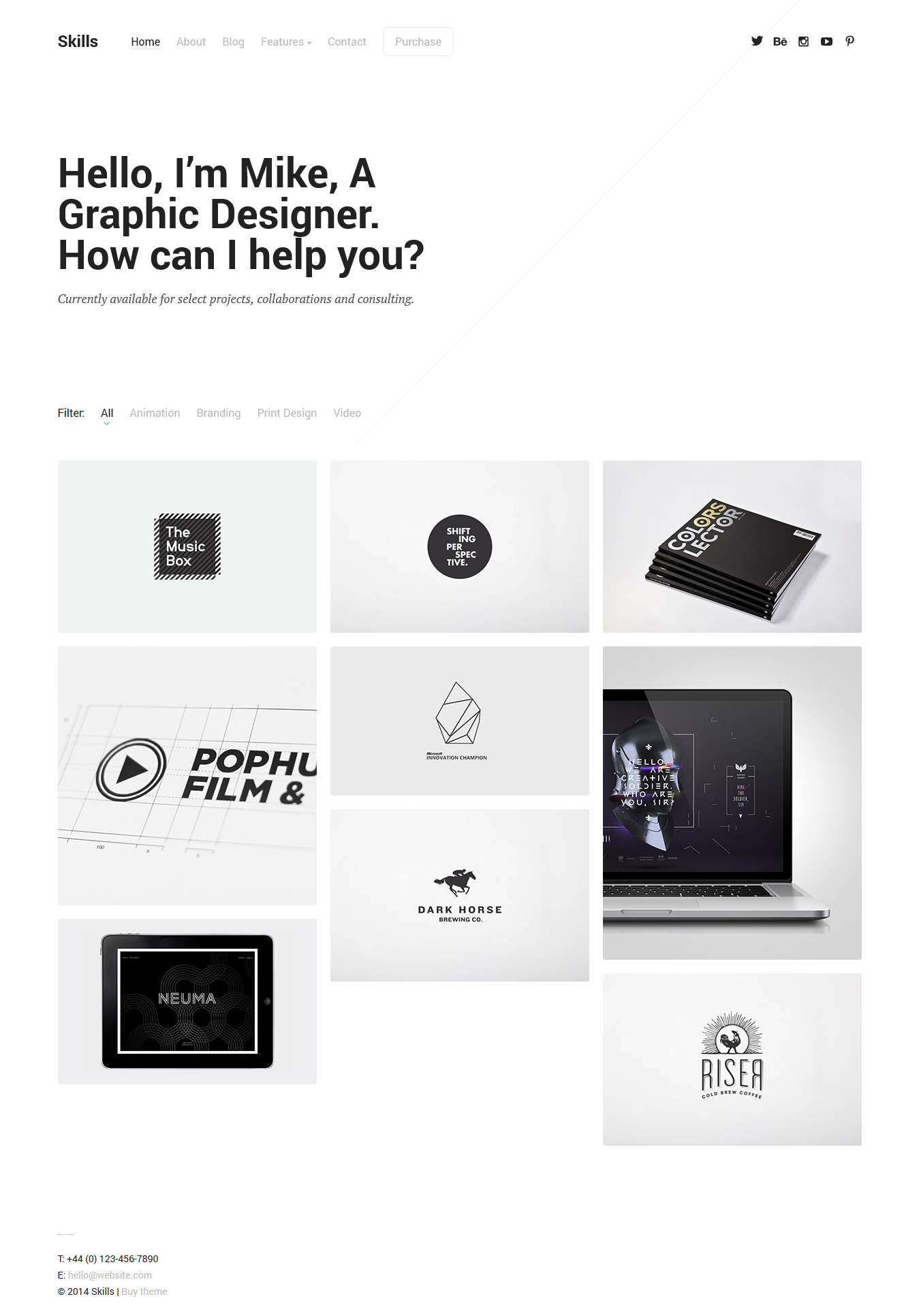 simple portfolio wordpress themes