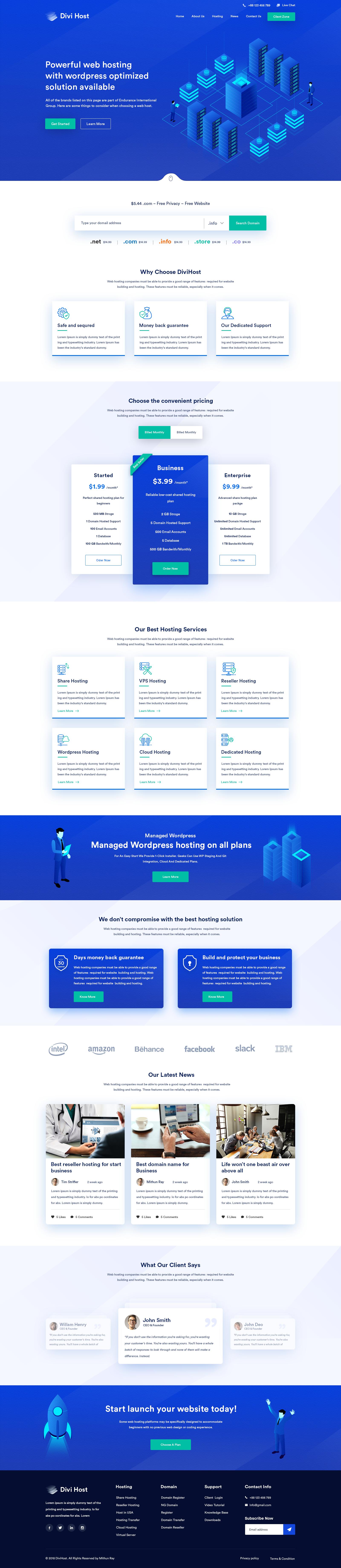 web hosting website homepage design