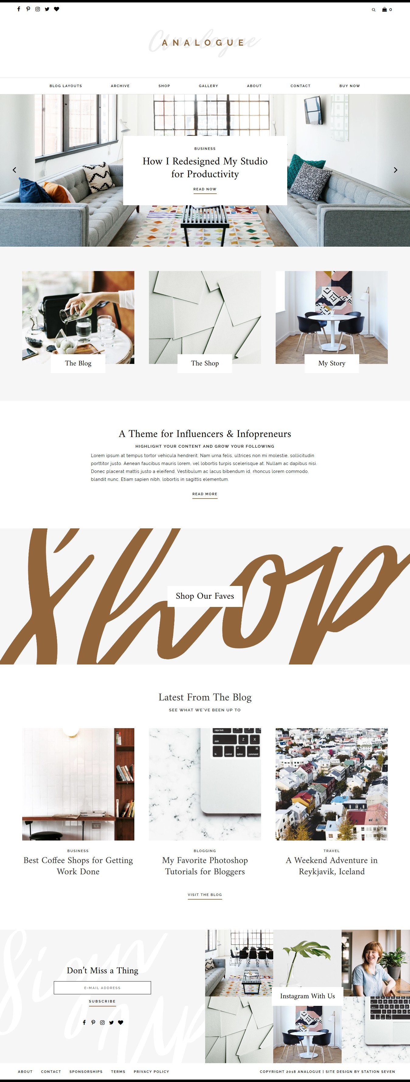 Analogue Feminine Blog Shop WordPress Theme