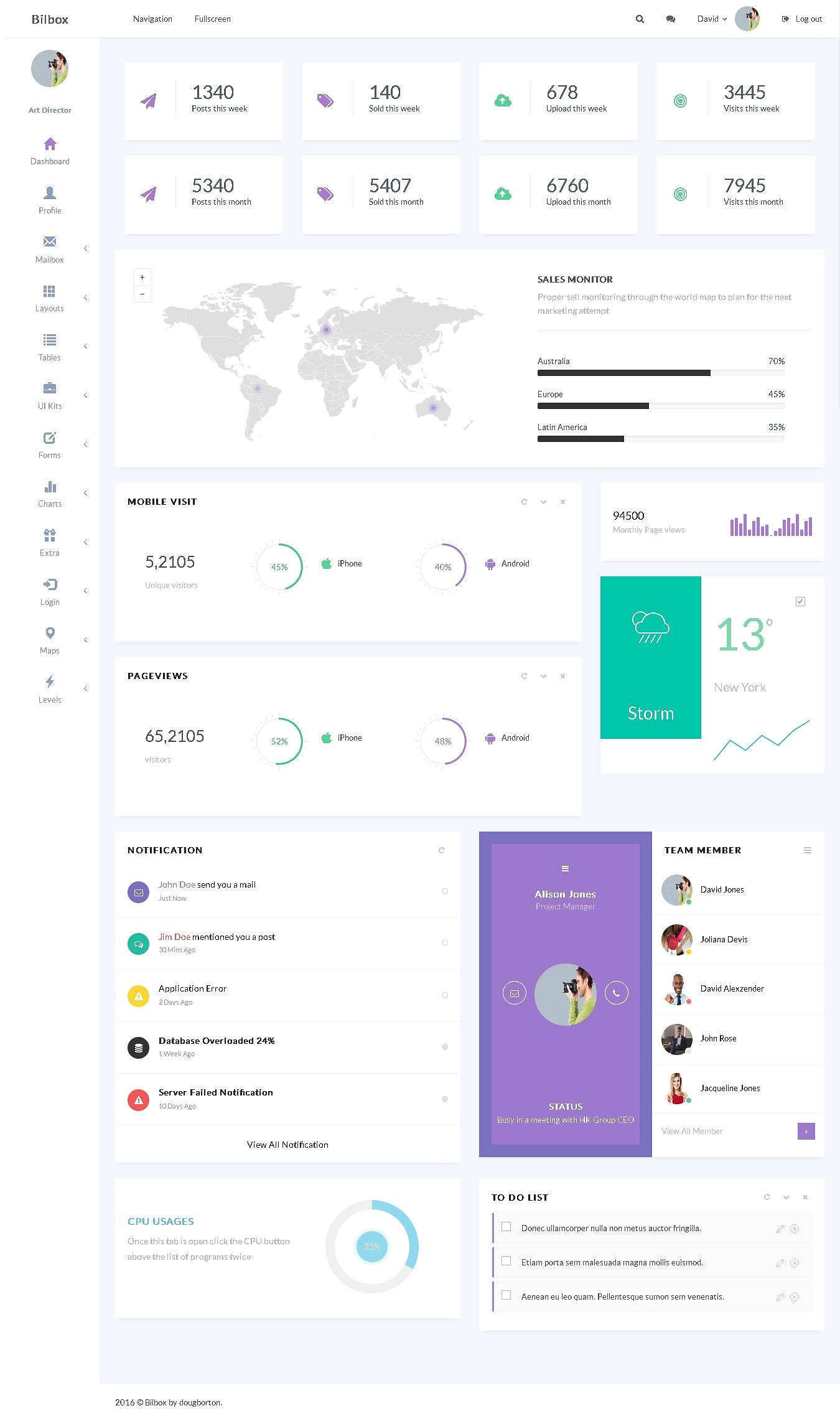 Bilbox Admin Dashboard Template