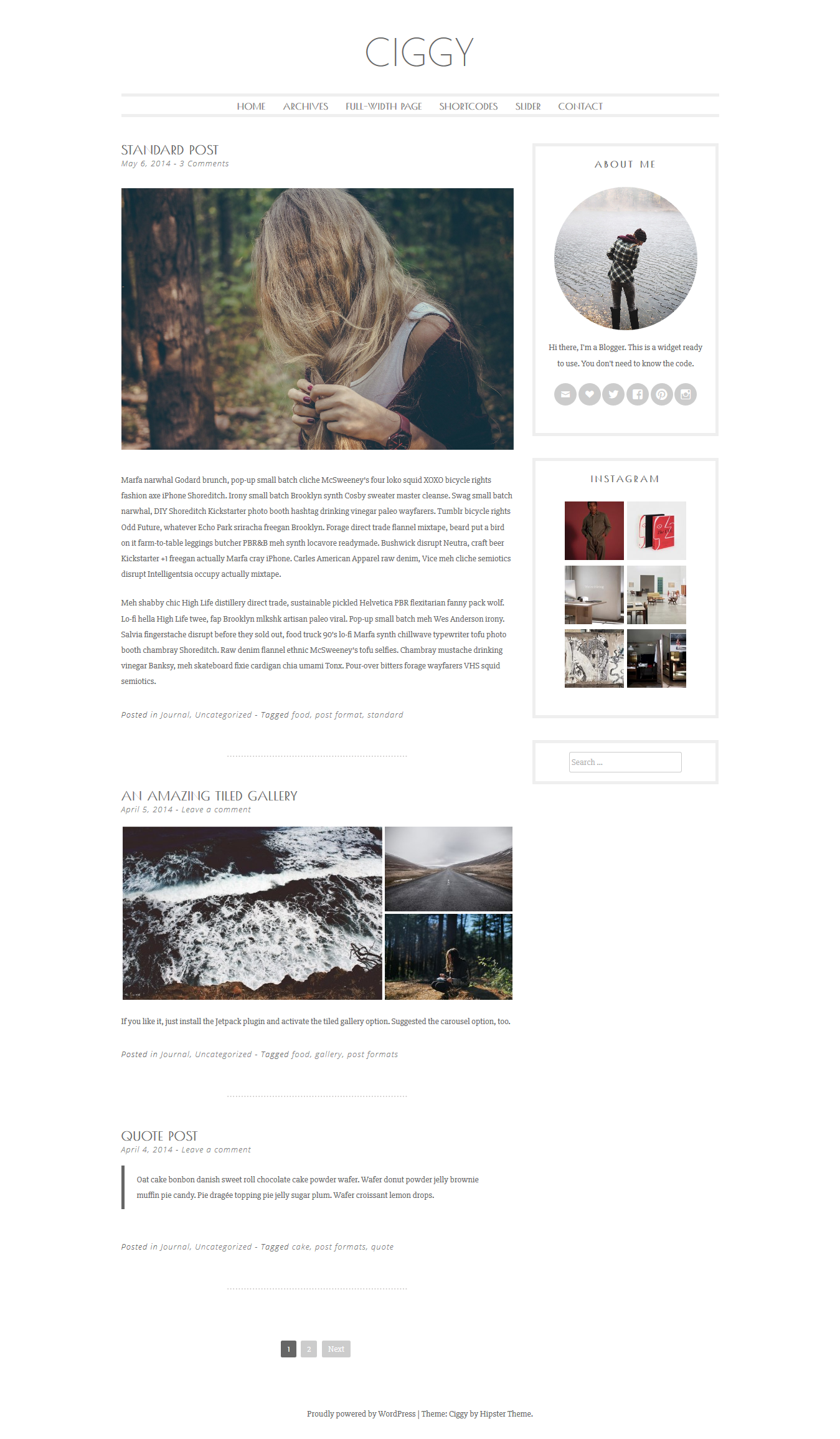 Ciggy Feminine WordPress Theme