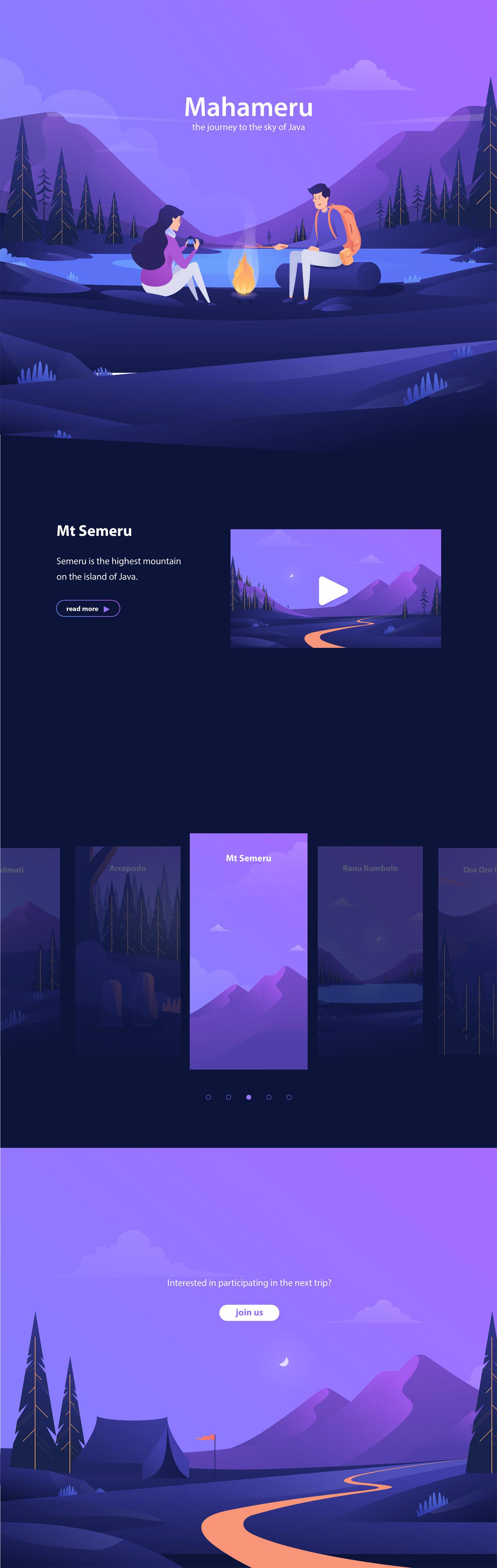 Mahameru Landing Page Design Ideas