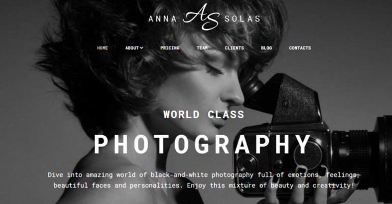 Anna Solas Photographers Portfolio Website Template