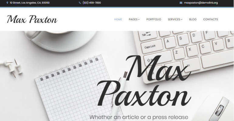 Max Paxton Freelance Writer Website Template