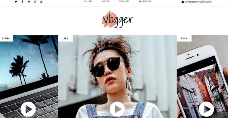 Vlogger Landing Page Template