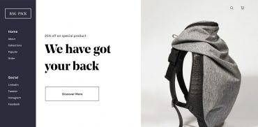 bag ecommerce landing page design inspiration