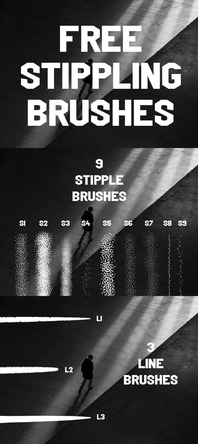 Free Stippling procreate brush set