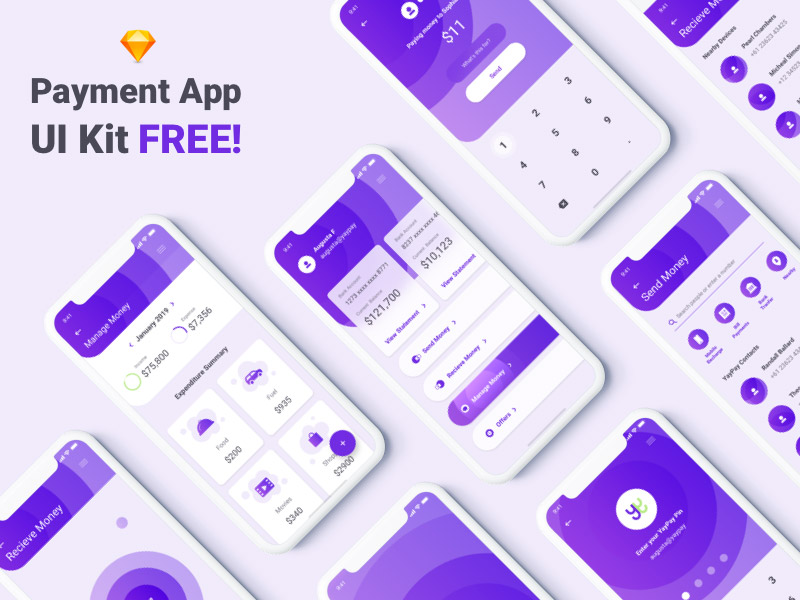 Free sketch UI Kit - Payment App