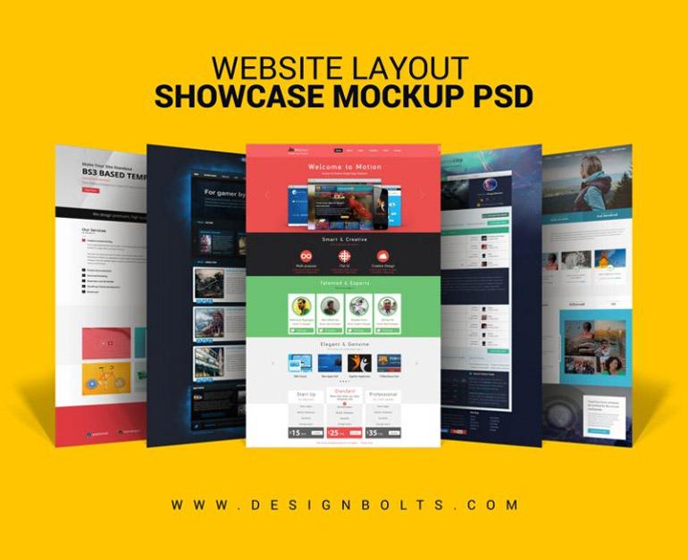 Free Website Layout Design Showcase Mock-up PSD