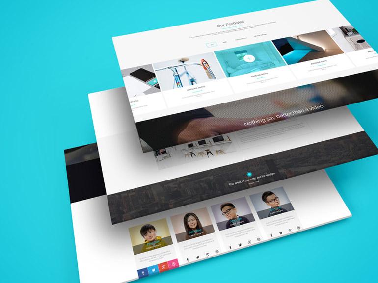 Multiple Web Screens Perspective PSD Mockup