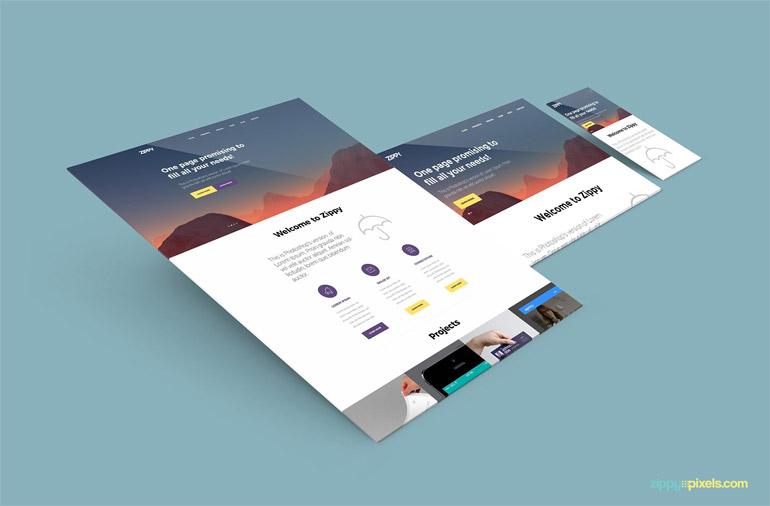 Beautiful Free Perspective Website Mockup