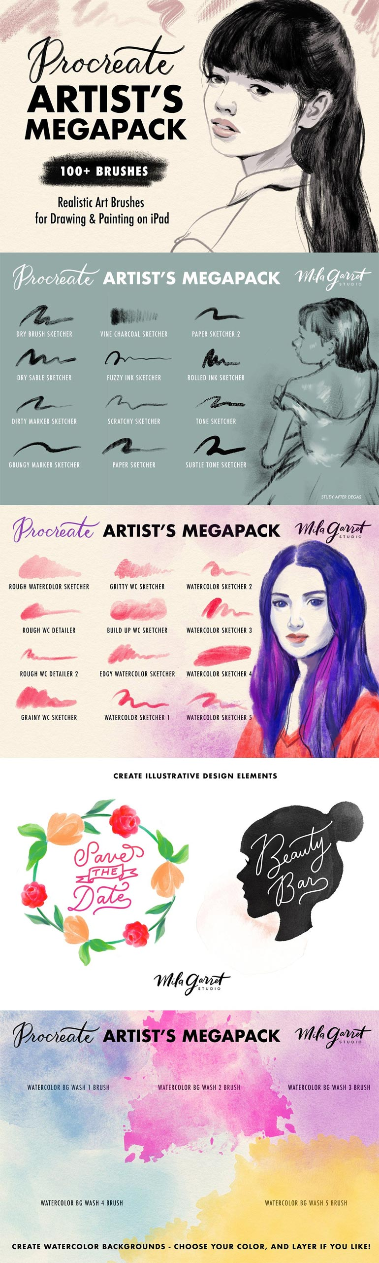 Procreate Brushes: Artist's Megapack