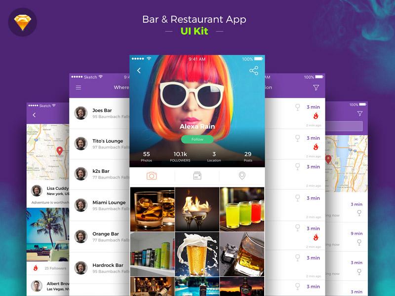 Restaurant Bar app ui kit sketch