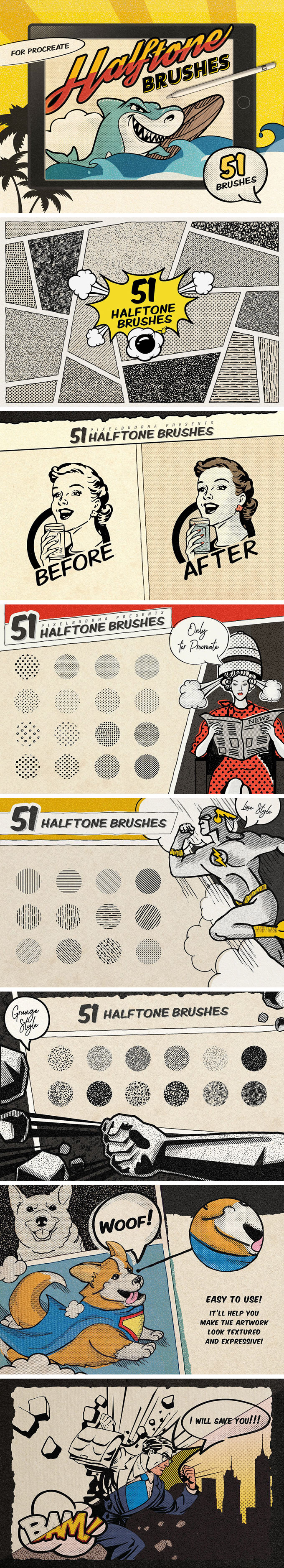 Retro Comics Procreate Brushes Free