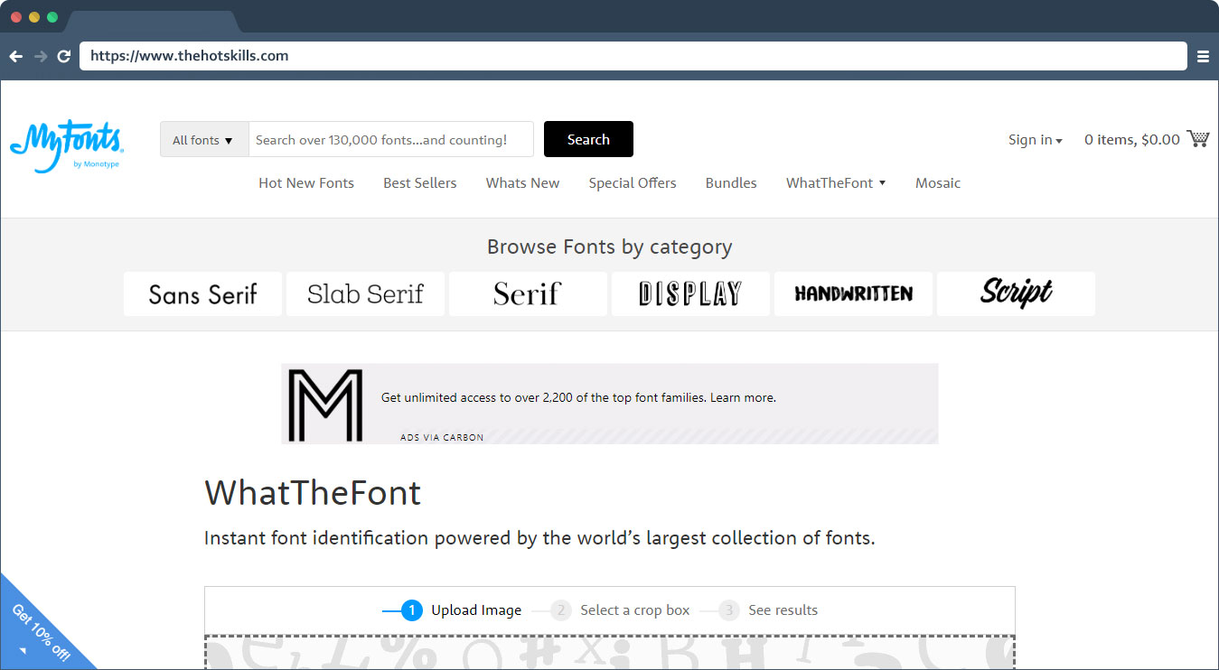 WhatTheFont image searching tool