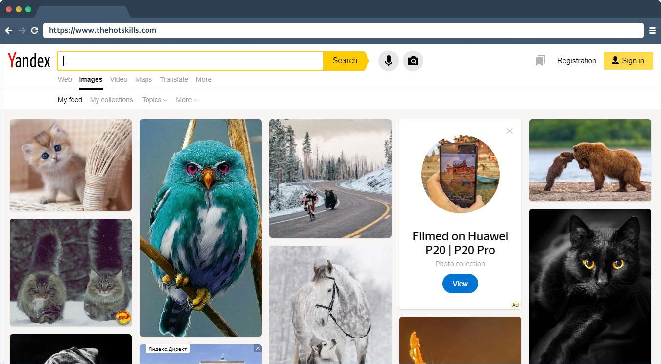 yandex image searching tool