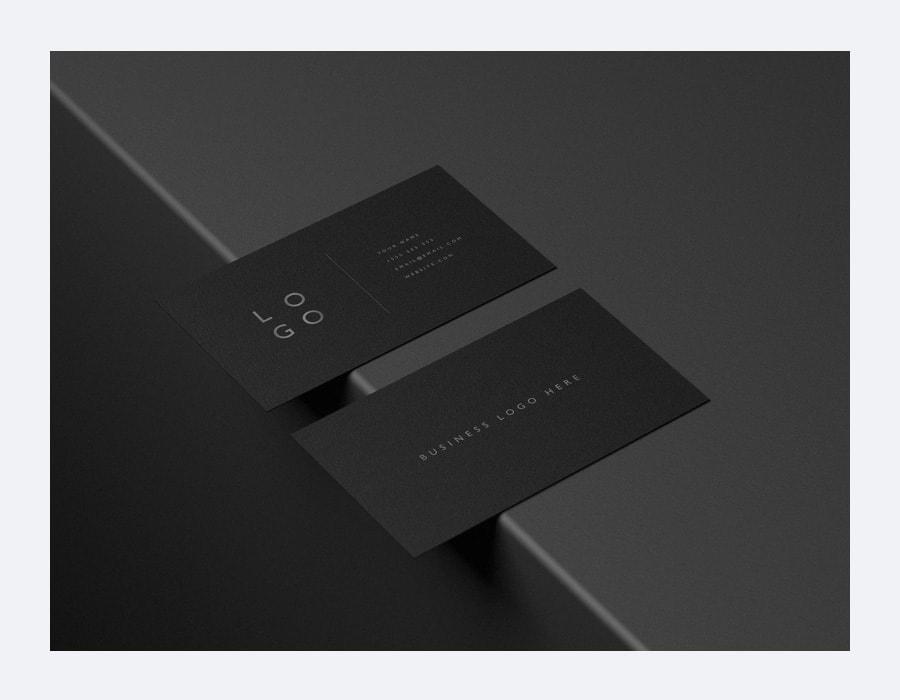 Black Business Cards Mockup PSD