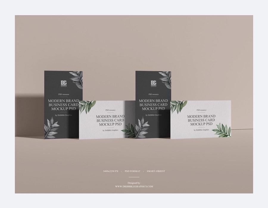 Free Modern Brand Business Card Mockup PSD 2019