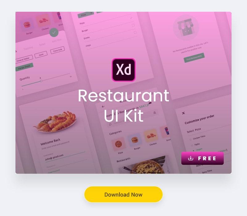 Restaurant UI Kit Freebies