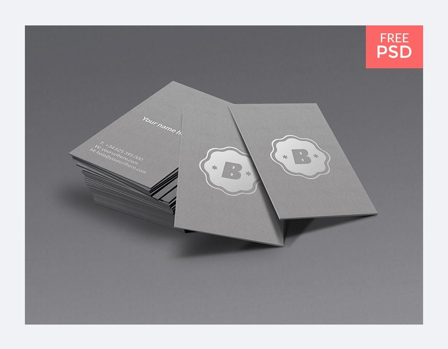 Silver Business Card Mockup psd free