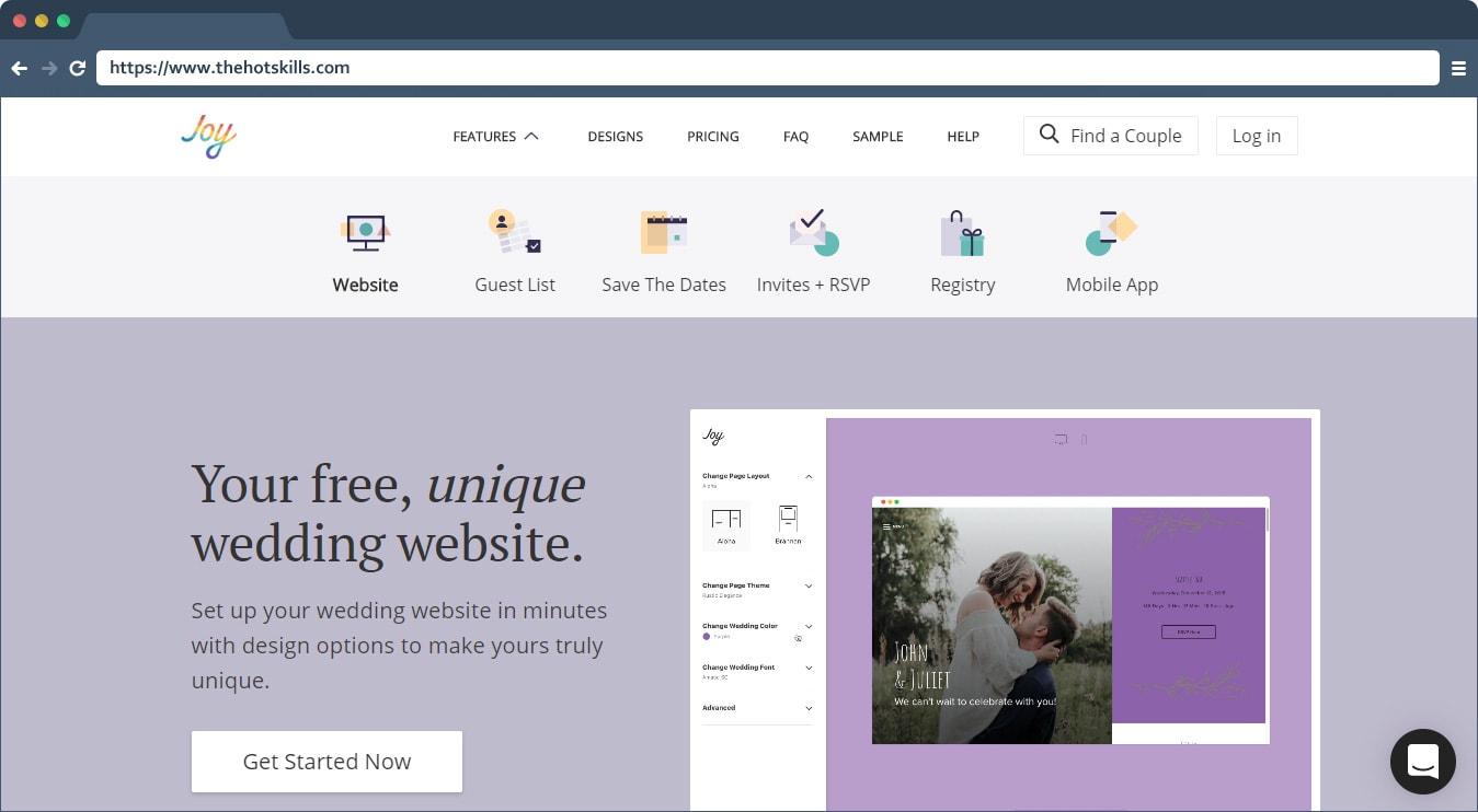 wedding website builder free