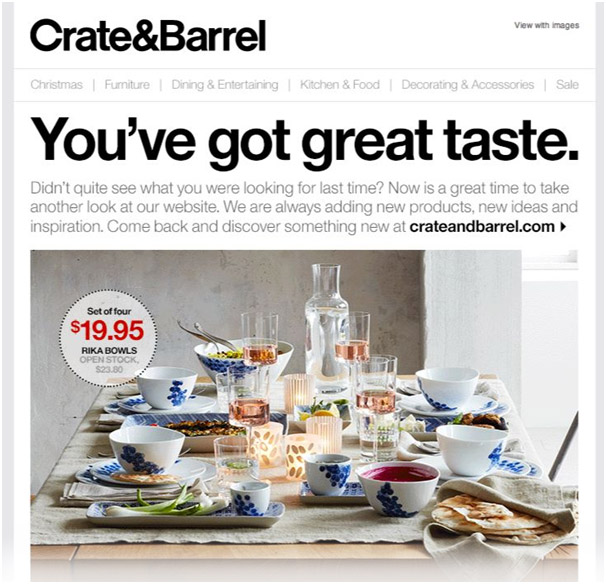 Abandoned Cart Email template by Crate&Barrel