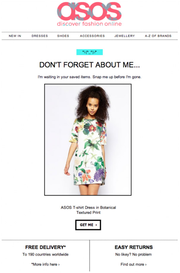 ASOS Abandoned Cart Email Example