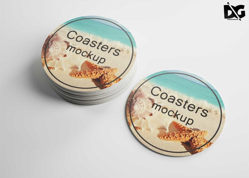 Free Round Coaster Mockup PSD
