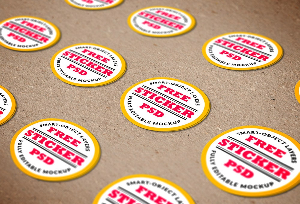 Free Stickers PSD MockUp