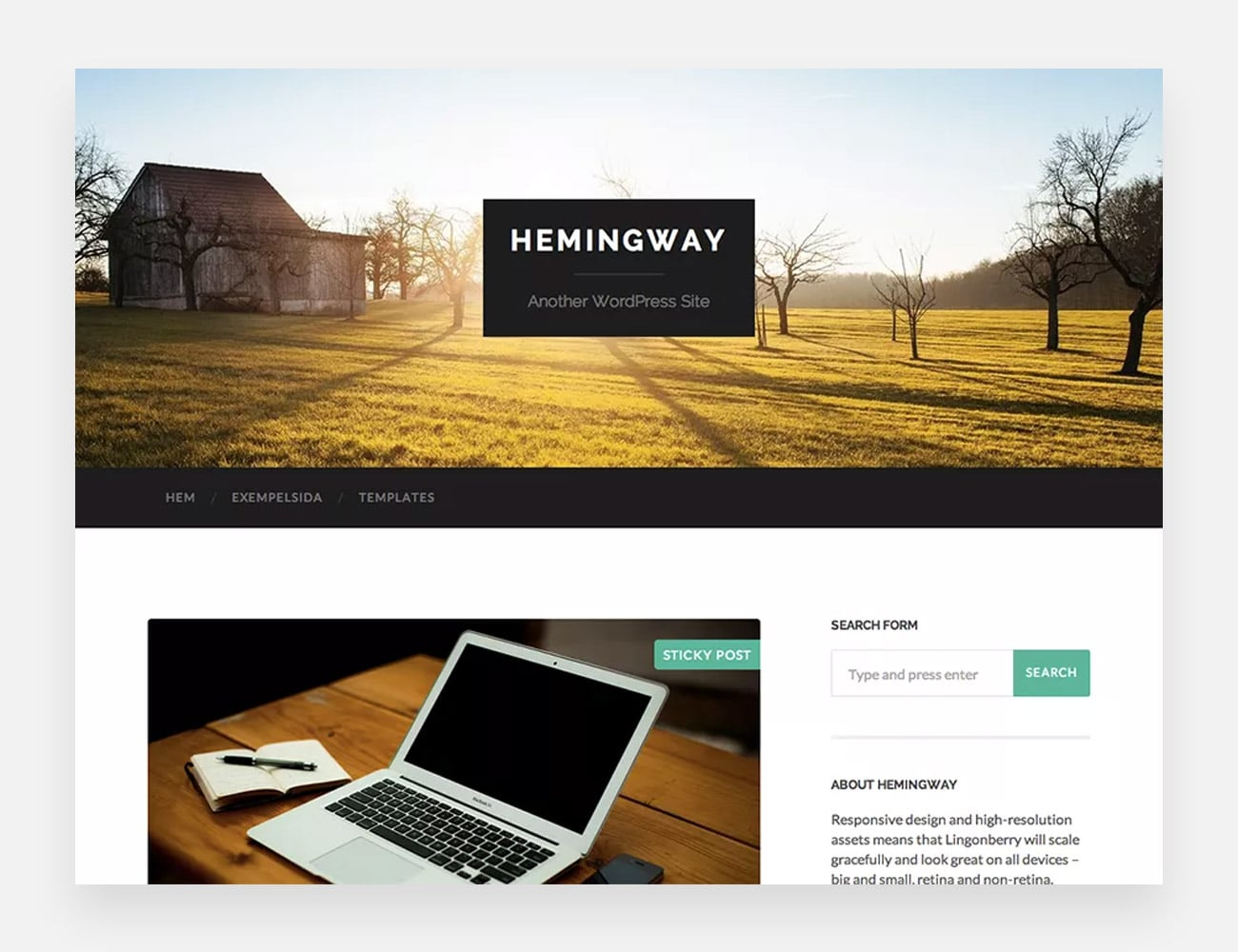 Hemingway Free WordPress Themes for Writers