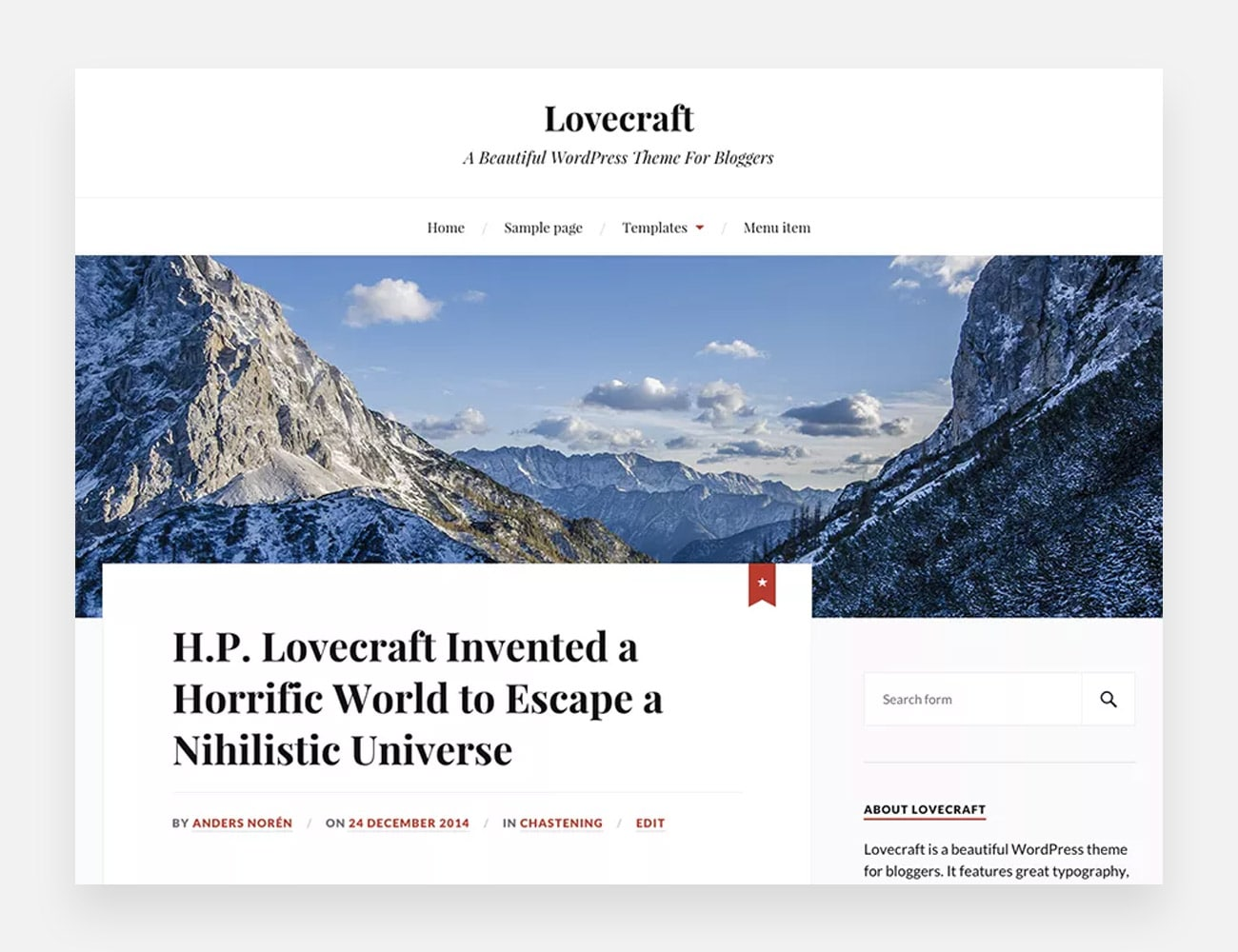 Lovecraft Free WordPress Themes for Writers