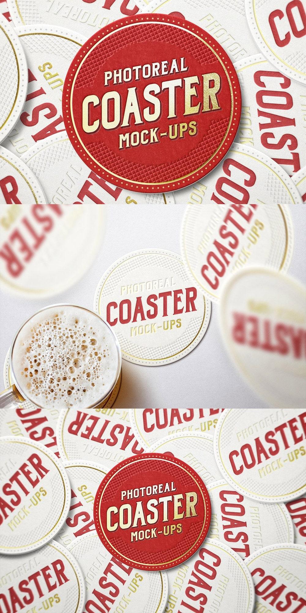 Photoreal Coaster Mockups PSD