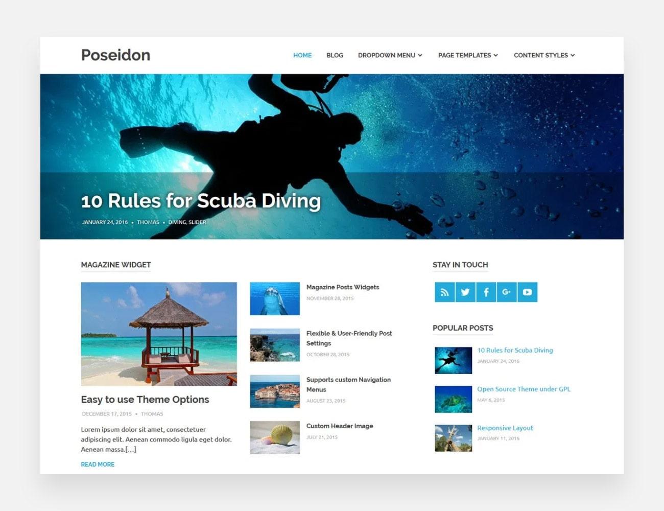 Poseidon Free WordPress Themes for Writers