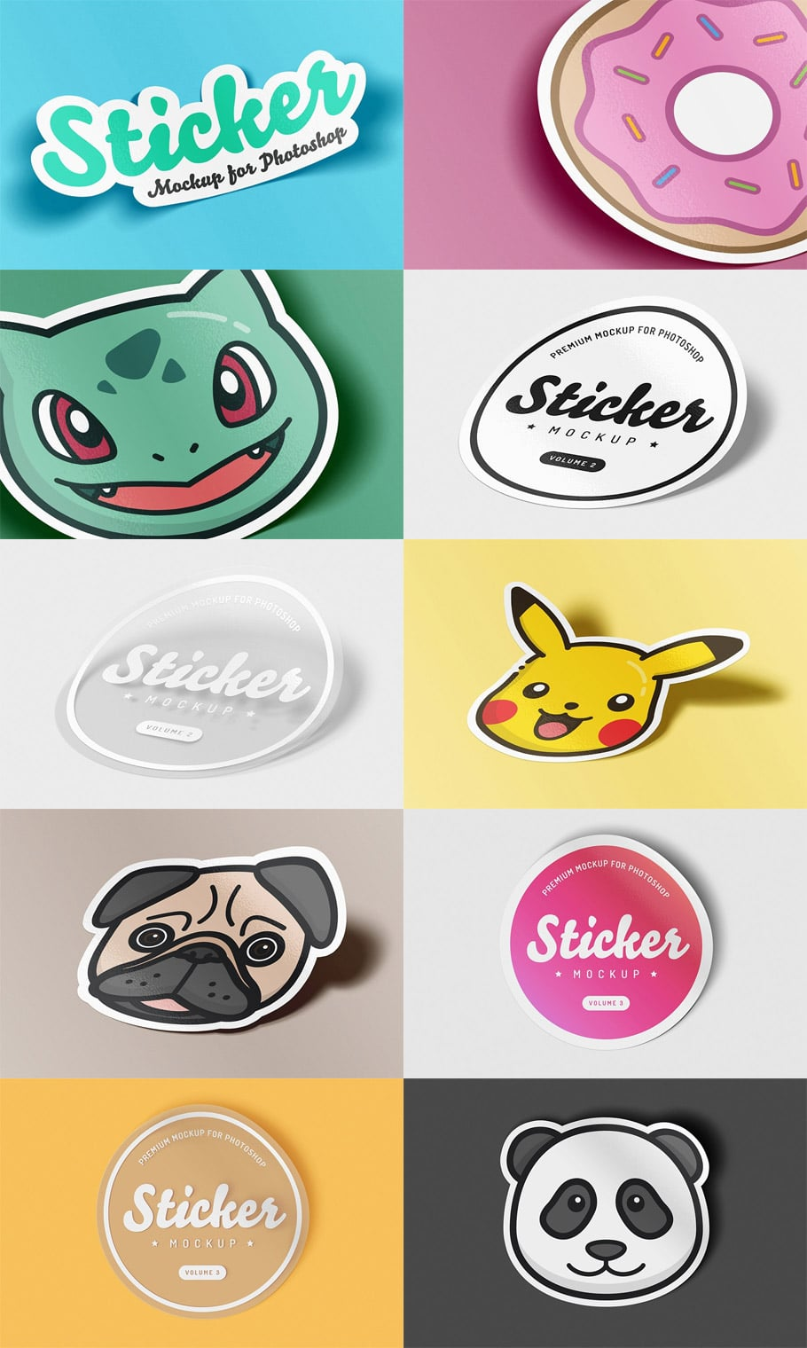 Sticker Mockup PSD Bundle