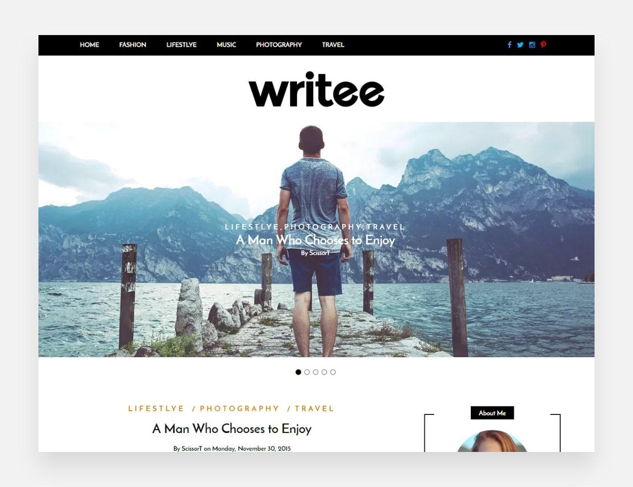 Writee Free WordPress Themes for Writers