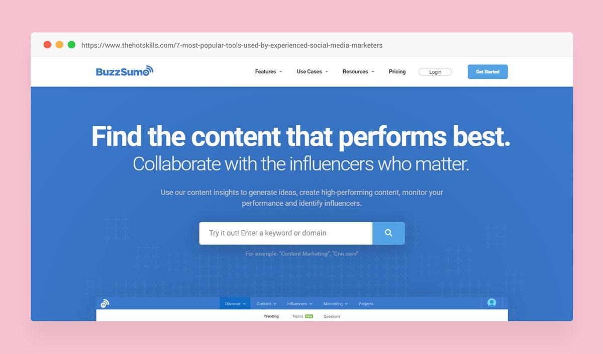 Buzzsumo Social Media Tools